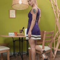Golden-haired Euro first-timer Nikitina baring hairy cunny from bloomers in pumps