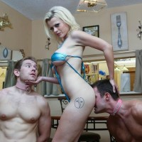 Yellow-haired girl Nadia Milky dominates 2 sissy dudes that worship her bare feet