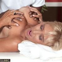 Sandy-haired grannie Brittney Snow gets seduced by her black rubdown therapist
