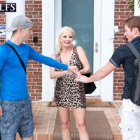 Blonde grannie Cammille Austin masturbates a pair of peckers after seducing boys in a sundress
