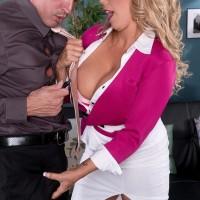 Platinum-blonde MILF XXX vid star Amber Lynn Bach delivering tit bang after being unclothed