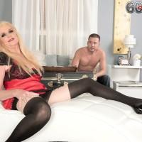 Fair-haired Nan Charlie seduces a junior guy in lingerie and ebony hose