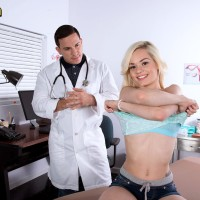 Light-haired nubile Elsa Jean having lil' knockers uncovered by doctor before riding penis on desk