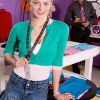 Sandy-haired teenager first timer Alli Rae exposing humungous all natural fun bags for educator in ponytails