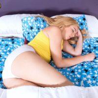 Ash-blonde nubile Tiffany Watson displaying rump in underwear before loosing little melons