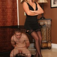 Blonde wife Ashley Edmunds puts her subby spouse in a cell during a instructing session