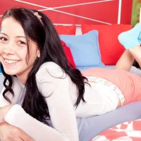 Black-haired first timer Alaina Kristar extracting taut teenage ass and tiny titties in socks