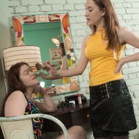 Dark-haired first-timer Elsa Hanemer having fur covered snatch blown and played by lesbian mistress