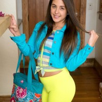 Dark-haired amateur Natalie Monroe baring petite teen breasts and mind-blowing booty under yoga pants
