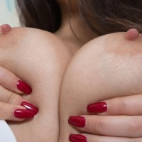 Brown-haired first timer Pavla squashes her all natural titties before opening up her all natural slit