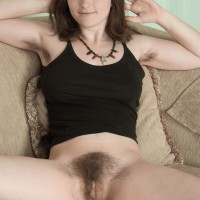 Black-haired amateur discards sundress and underwear to uncover hairy pits and cooter