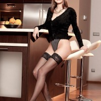 Brown-haired stunner Estelle Taylor vaunting giant all-natural melons in ebony pantyhose and high heeled shoes