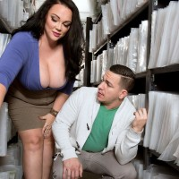 Black-haired BIG SEXY LADY Charlotte Angel disrobe naked for doggie-style screwing by co-worker