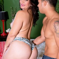 Dark haired female Sabrina Santos pussy-smothering dude on bed with her big white bum