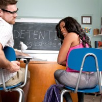 Brunette female Serenity Evans demonstrating panty clad immense butt in classroom