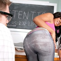 Black-haired girl Serenity Evans vaunting panty garbed immense ass in classroom