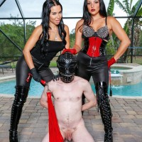 Brunette Dominant Kylie Rogue and gf manhandle hooded subby husband beside pool