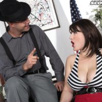 Brunette MILF May West having humungous knockers and rigid swell nips uncovered by man in hat