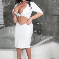 Dark-haired MILF XXX flick starlet Sheridan Enjoy pulling out perfect funbags and pierced erect nips in wc