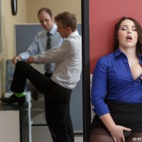 Brown-haired assistant Lola Foxx taking anal banging in work environment after delivering massive penis blowjob