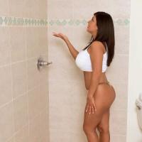 Dark-haired solo female Daylene Rio unleashing monster-sized moist Latina melons in shower