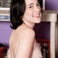 Dark haired nubile amateur Cadence Carter uncovering puny knockers and panty garmented ass