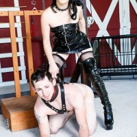 Black-haired wife Sarah Dice has her submissive husband worship her ass and cooch