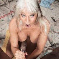 Chesty 60 plus XXX video star Sally D'Angelo gets boinked by a younger black boy