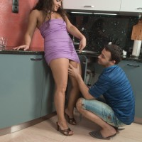 Huge-chested first-timer Ericka Fly taking gonzo doggy style boinking of wooly honeypot