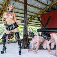 Bosomy yellow-haired Alexis Fawx keeps a duo of masculines slaves in bondage masks on leashes