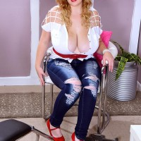 Buxom blonde BIG SEXY LADY Mya Blair jerking and blowing dick in torn blue denim jeans