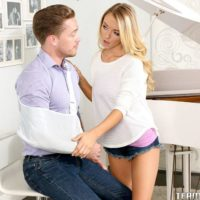 Huge-chested fair-haired teen Molly Mae riding giant dick after providing CFNM blow-job on knees
