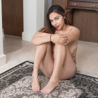Bosomy brunette first timer Victoria Marie uncovering furry pussy beneath cut-offs