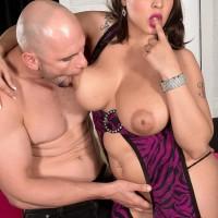 Bosomy dark haired solo girl Cat Bangles gobbling own nipples before slurping humungous cock