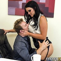 Big-boobed dark haired MILF Mackenzee Pierce boinking TWO dicks at same time in office