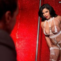 Big-titted brown-haired stripper Savana Ginger face sitting guy in high-heels and lingerie