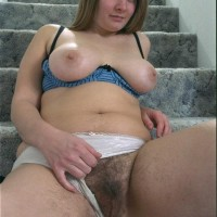 Busty Euro first-timer flaunting furry pits and pussy in the naked