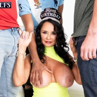 Huge-titted grandmother Rita Daniels deepthroats on large white and black hard-ons for bday number Sixty-nine