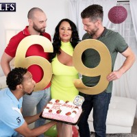 Big-titted granny Rita Daniels deep throats on humungous milky and ebony penises for bday number Sixty nine