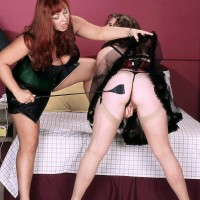 Huge-chested aged lesbians Angela Milky and Virgin Brady play lesbian domination games in lingerie