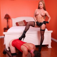 Buxom stocking and high heel clad wife Nikki Delano face fucking sissy before pegging