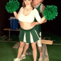 Cheerleader uniform wearing Christy Marks exposing huge breasts for funbag boinking