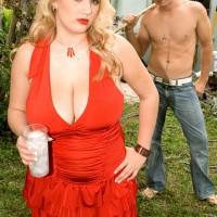 Plump platinum-blonde babe Shyla Bashful revealing gigantic juggs and hard nips outdoors