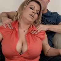Round fair-haired babe Veronika freeing hefty fun bags from boulder-holder before delivering titty fuck