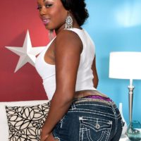 Chubby ebony first-timer Jayden Starr her vaunting enormous ebony butt in thong panties