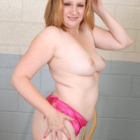 Round elderly doll letting her tits fall loose from bras while disrobing off her clothes