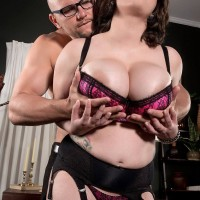 Chubby stocking and lingerie attired brunette Alana Lace having massive knockers exposed