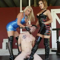 Non nude Mistresses Virgin and Morgan give collared male slave the COCK AND BALL TORMENT approach