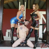 Non nude dominatrixes Kylie Rogue and Cherry Morgan dominate a naked and collared sub