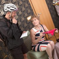 Clothed aged dame Georgina seducing bicyle courier with a blow job in hose